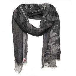 Zwarte katoenen sjaal met dessin