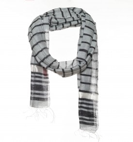 Cotton silk scarf with woven stripes - AM 335
