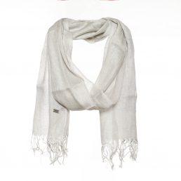 Linnen - zijde sjaal met lurex print