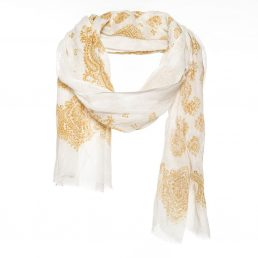 Linnen sjaal met gouden print