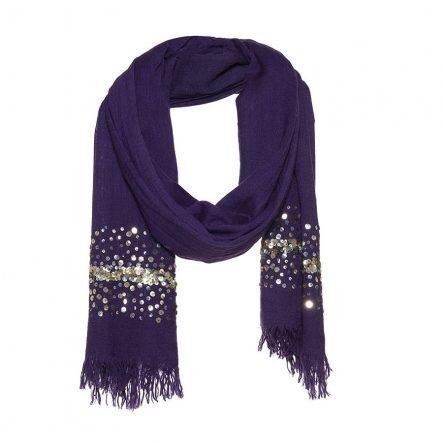 blauwe sjaal met palletten