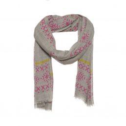 Wollen sjaal met kruisjes print in de kleur roze.