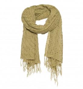 Een basket weave sjaal van 100% wol in de kleur beige.