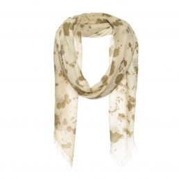 Een mooie vierkante sjaal met splash print in de kleur taupe.