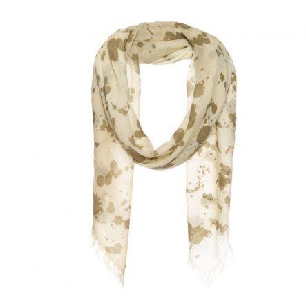 vierkante sjaal met splash print beige