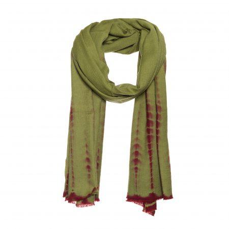 wollen zijde tie dye sjaal groen.