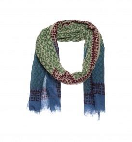 ikat print sjaal met dip dye groen.