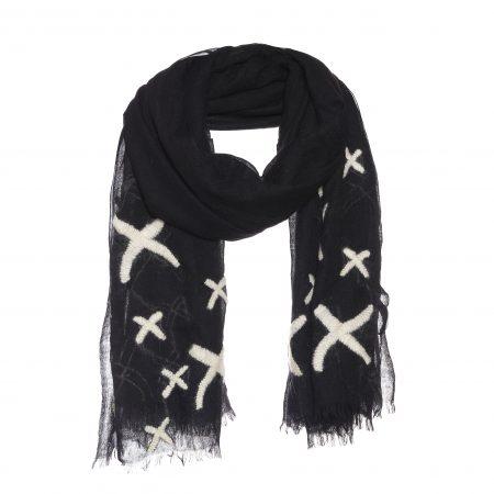 wollen sjaal met kruisjes borduursel zwart.