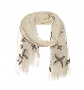 Een prachtige wollen sjaal met kruisjes borduursel in de kleur grijs.