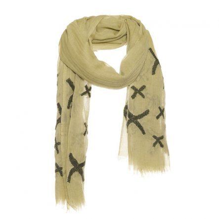 wollen sjaal met kruisjes borduursel olijf.
