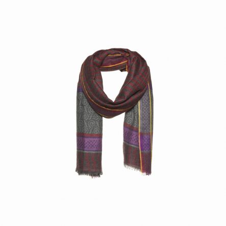 Woolen red scarf with stripes print