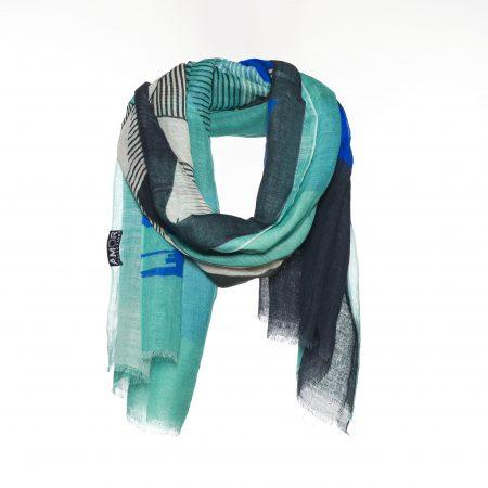 Blauwe sjaal met grafische print am852