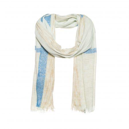 Katoenen sjaal met ingeweven strepen