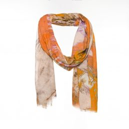 Orange scarf with feather print