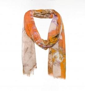 Oranje sjaal met veren print – AM 877