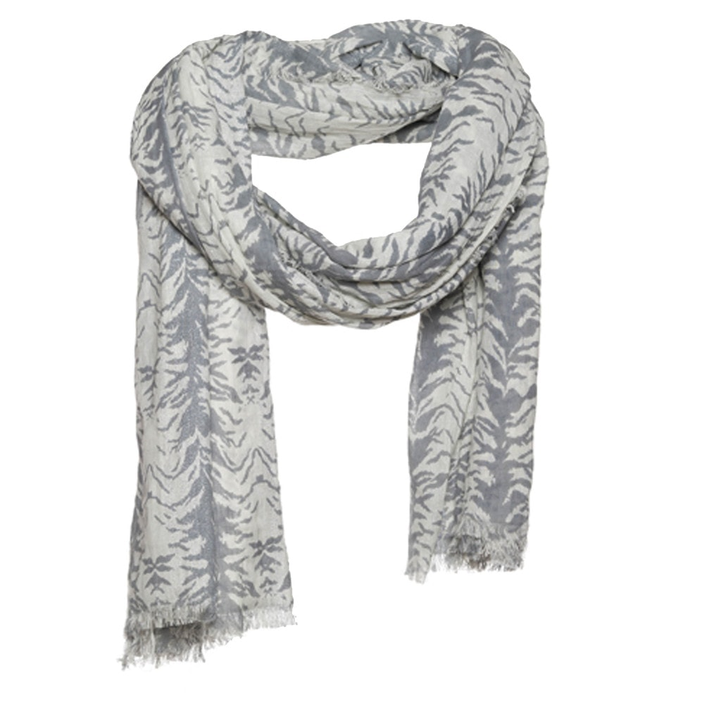 cotton scarf with zebra print and lurex