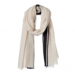 Cotton summer scarf with woven in stripe - AM 956