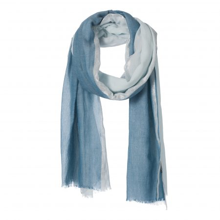 amor collections cotton scarf with lurex stripe blue