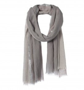 amor collections cotton scarf with lurex stripe grey