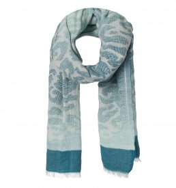 amor collections cotton scarf with jungle print blue