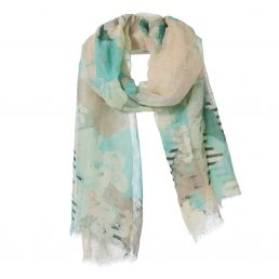 Linen/cotton scarf with flowers - AM 974