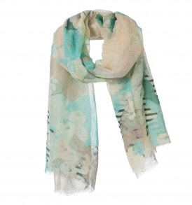 amor collections linen cotton scarf with flowers blue