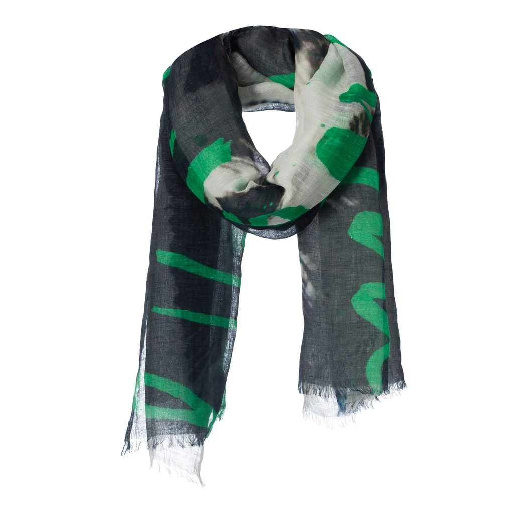 art' scarf hello there walk with me linen cotton