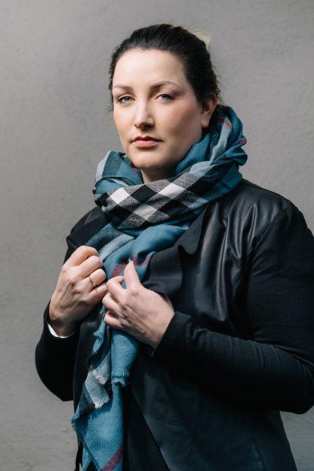 woolen scarf with woven in tartan blue