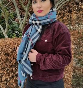 Klassieke wollen sjaal met ingeweven schotse ruit – AM 1019